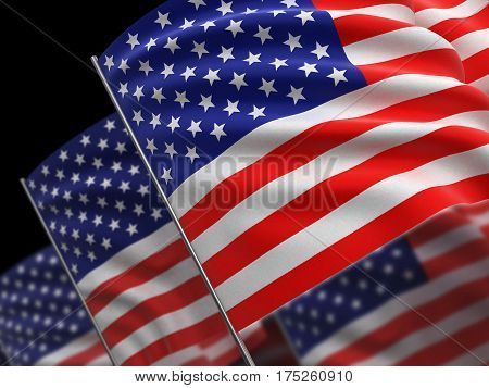 3D Illustration. Highres 3d rendering of USA flags with fabric surface texture.