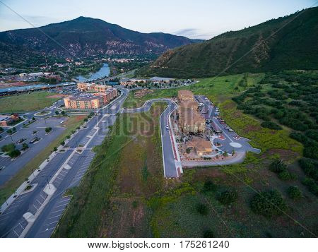 Glenwood Springs Colorado USA-June 20 2015. Aerial view of apartment complex in the mountains.