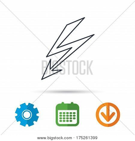 Lightening bolt icon. Power supply sign. Electricity symbol. Calendar, cogwheel and download arrow signs. Colored flat web icons. Vector