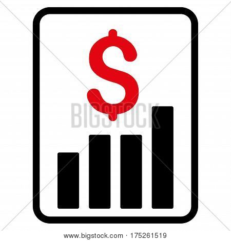 Financial Report vector pictogram. Illustration style is a flat iconic bicolor intensive red and black symbol on white background.