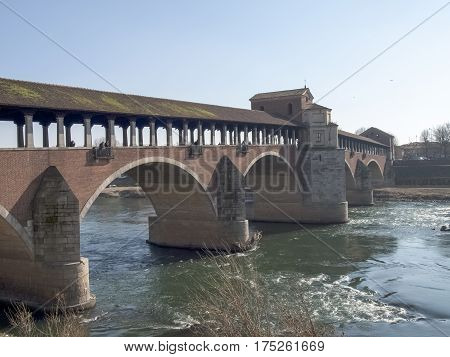 Pavia, Covered Bridge Over The River Ticino