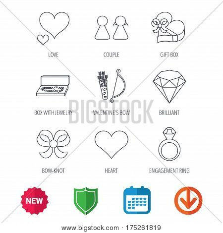 Love heart, brilliant and engagement ring icons. Bow, couple and gift box linear signs. Valentine amour arrows flat line icons. New tag, shield and calendar web icons. Download arrow. Vector
