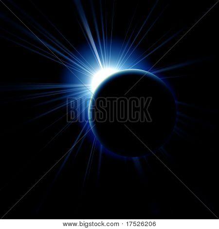 Image of a solar eclipse. Illustration on a dark background