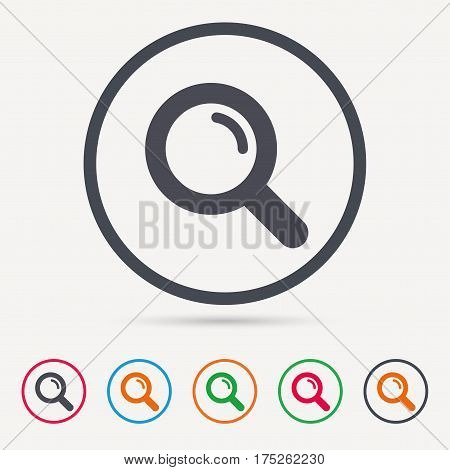 Magnifier icon. Search magnifying glass symbol. Round circle buttons. Colored flat web icons. Vector