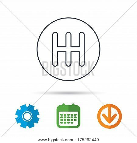 Manual gearbox icon. Car transmission sign. Calendar, cogwheel and download arrow signs. Colored flat web icons. Vector