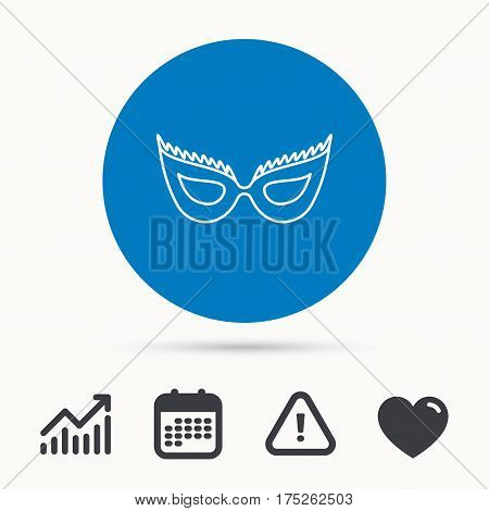 Festive mask icon. Masquerade carnival sign. Anonymous symbol. Calendar, attention sign and growth chart. Button with web icon. Vector