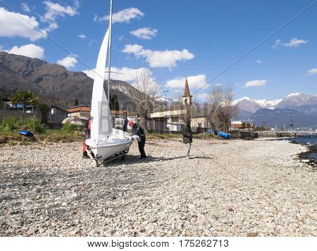 Sailboat In Preparation On The Beach