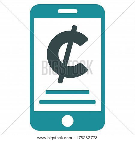 Cent Mobile Payment vector pictograph. Illustration style is a flat iconic bicolor soft blue symbol on white background.