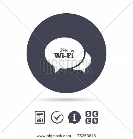 Chat speech bubbles. Free wifi sign. Wifi symbol. Wireless Network icon. Wifi zone. Report document, information and check tick icons. Currency exchange. Vector