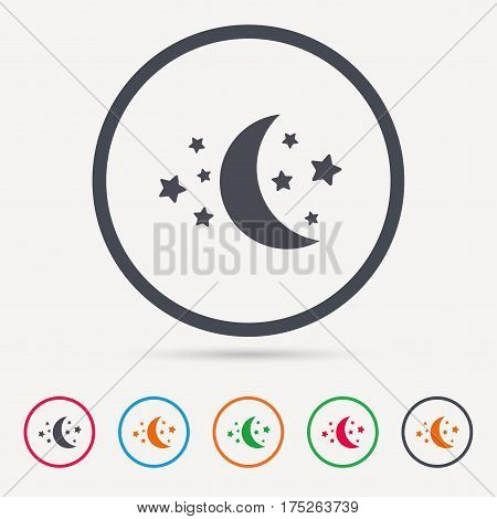 Moon and stars icon. Night sleep symbol. Round circle buttons. Colored flat web icons. Vector