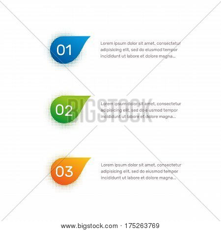 Layout workflow. Outline colorful menu for app interface. Number options. Web design of buttons elements. Infographics 1. 2. 3. vector template. Text illustration