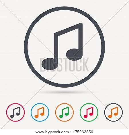 Music icon. Musical note sign. Melody symbol. Round circle buttons. Colored flat web icons. Vector
