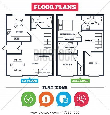 Architecture plan with furniture. House floor plan. Check or Tick icon. Phone call and Information signs. Support communication chat bubble symbol. Kitchen, lounge and bathroom. Vector