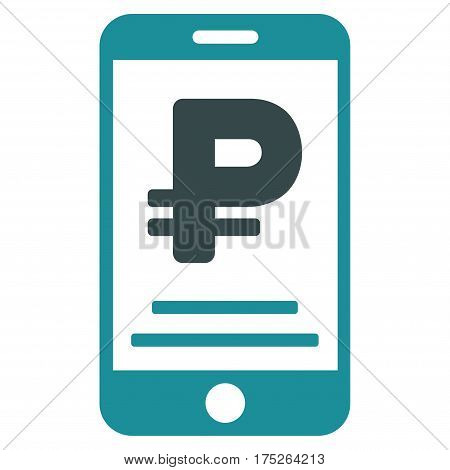 Rouble Mobile Payment vector pictogram. Illustration style is a flat iconic bicolor soft blue symbol on white background.