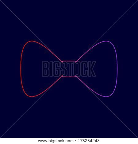 Bow Tie icon. Vector. Line icon with gradient from red to violet colors on dark blue background.