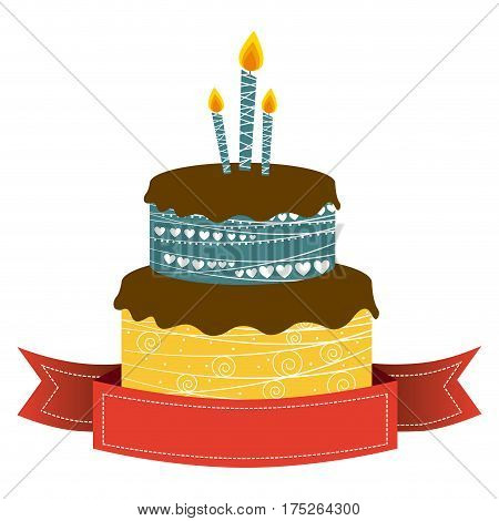 color cake party with canddles and fuchsia ribbon icon, vector illustraction
