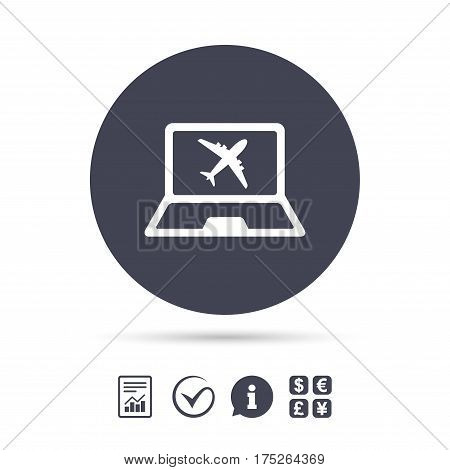 Online check-in sign. Airplane symbol. Travel Flight tickets label. Report document, information and check tick icons. Currency exchange. Vector