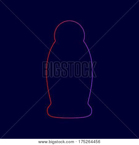 Gel, Foam Or Liquid Soap. Dispenser Pump Plastic Bottle silhouette. Vector. Line icon with gradient from red to violet colors on dark blue background.