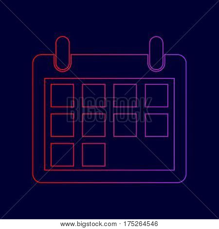 Calendar sign illustration. Vector. Line icon with gradient from red to violet colors on dark blue background.