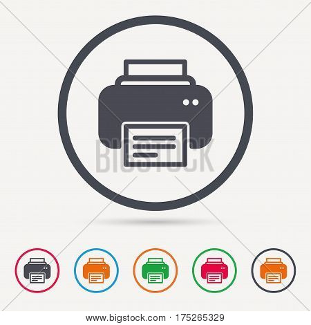 Printer icon. Print documents technology symbol. Round circle buttons. Colored flat web icons. Vector