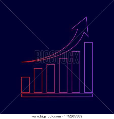 Growing graph sign. Vector. Line icon with gradient from red to violet colors on dark blue background.
