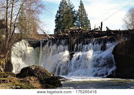 Upper Tumwater Falls on the Tumwater River in Tumwater, WA