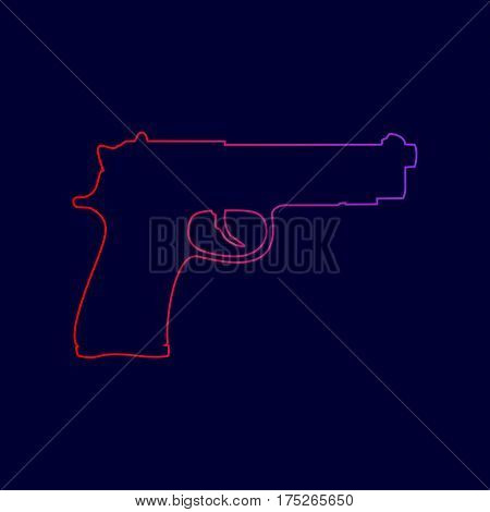 Gun sign illustration. Vector. Line icon with gradient from red to violet colors on dark blue background.