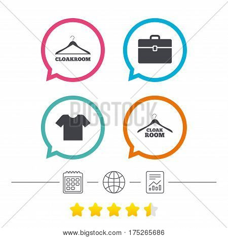 Cloakroom icons. Hanger wardrobe signs. T-shirt clothes and baggage symbols. Calendar, internet globe and report linear icons. Star vote ranking. Vector