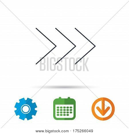 Right arrow icon. Next sign. Forward direction symbol. Calendar, cogwheel and download arrow signs. Colored flat web icons. Vector
