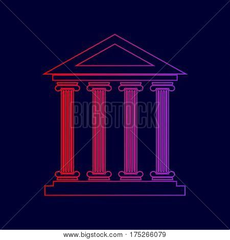 Historical building illustration. Vector. Line icon with gradient from red to violet colors on dark blue background.