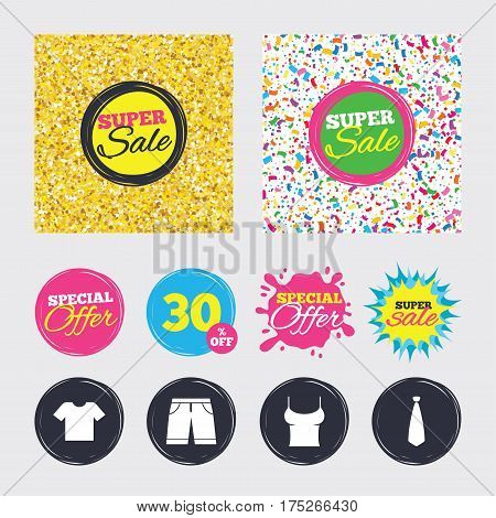 Gold glitter and confetti backgrounds. Covers, posters and flyers design. Clothes icons. T-shirt and bermuda shorts signs. Business tie symbol. Sale banners. Special offer splash. Vector