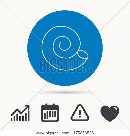 Sea shell icon. Spiral seashell sign. Mollusk shell symbol. Calendar, attention sign and growth chart. Button with web icon. Vector