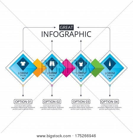 Infographic flowchart template. Business diagram with options. Clothes icons. T-shirt and bermuda shorts signs. Business tie symbol. Timeline steps. Vector