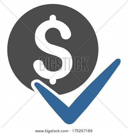 Accept Payment vector pictogram. Illustration style is a flat iconic bicolor cobalt and gray symbol on white background.