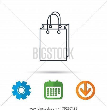 Shopping bag icon. Sale handbag sign. Calendar, cogwheel and download arrow signs. Colored flat web icons. Vector