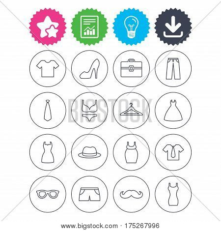 Download, light bulb and report signs. Clothes and accessories icons. Shirt with tie, pants and woman dress symbols. Hat, hanger and glasses thin outline signs. Underwear and maternity clothes