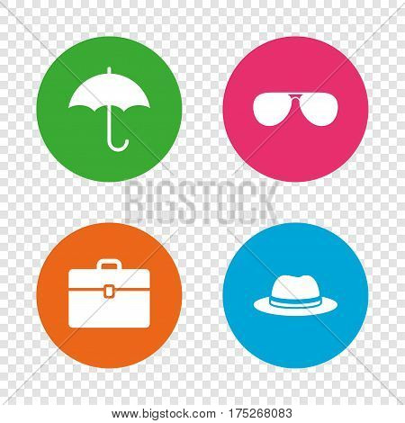 Clothing accessories icons. Umbrella and sunglasses signs. Headdress hat with business case symbols. Round buttons on transparent background. Vector