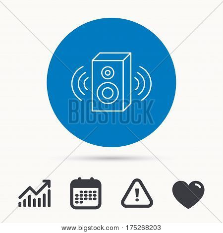 Sound icon. Musical speaker sign. Calendar, attention sign and growth chart. Button with web icon. Vector