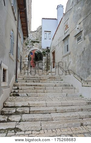 Stairway Street in Old Town Rovinj Croatia