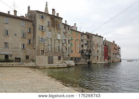 Colorful Seafront Houses in Rovinj Town Croatia