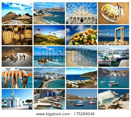 Collage of 20 images from famous location in the cyclades, Greece