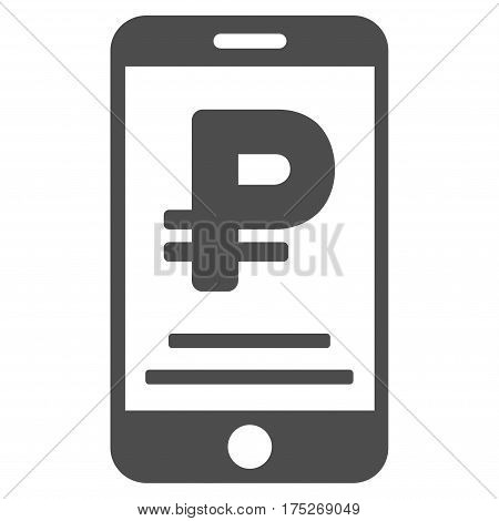 Rouble Mobile Payment vector pictogram. Illustration style is a flat iconic gray symbol on white background.