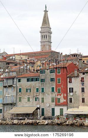 Colorful Houses and Church Tower in Rovinj Croatia