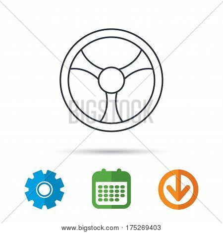 Steering wheel icon. Car drive control sign. Calendar, cogwheel and download arrow signs. Colored flat web icons. Vector
