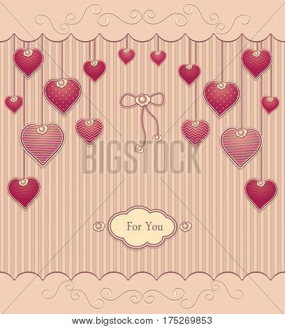 Post Card with texture Hearts on ropes  in  pink red pastel colors for congratulation of  Valentine Day or for love confession or for gift