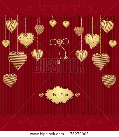 Post Card with texture Hearts on ropes  in  red gold colors for congratulation of  Valentine Day or for love confession or for gift