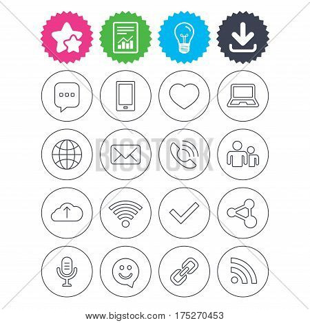 Download, light bulb and report signs. Communication icons. Smartphone, laptop and speech bubble symbols. Wi-fi and Rss. Online love dating, mail and globe thin outline signs. Best quality star symbol