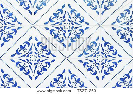 Portuguese tile house wall background texture close up