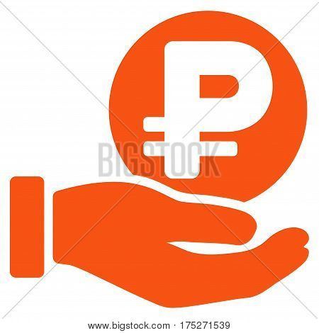 Rouble Coin Payment Hand vector pictogram. Illustration style is a flat iconic orange symbol on white background.