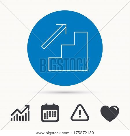 Upstairs icon. Direction arrow sign. Calendar, attention sign and growth chart. Button with web icon. Vector
